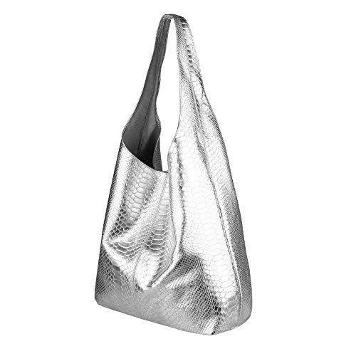 8c73ea90362c8 OBC MADE IN ITALY DAMEN LEDER HAND-TASCHE METALLIC Shopper Schultertasche  Hobo-Bag Henkeltasche ...