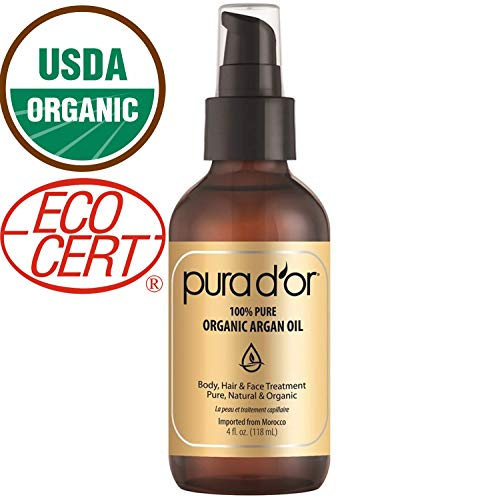 PURA D'OR Moroccan Argan Oil 100% Pure & USDA Organic For Face, Hair, Skin & Nails, 4 Fluid Ounce by PURA D'OR