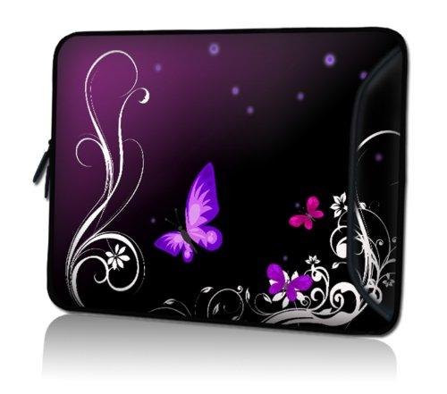 wortek Universal Notebooktasche Sleeve aus Neopren extra Zusatzfach für Kabel, Maus und Zubehör für Laptop bis ca. 10,2 Zoll - Schmetterling Ranke Schwarz Lila