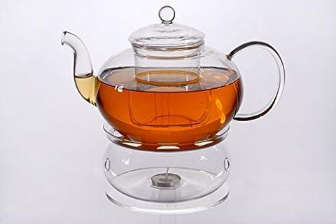 Glas Teekanne Melina 1,8l mit Filter und Glasstövchen aus Borosilikatglas mit Aluminiumplatte Original