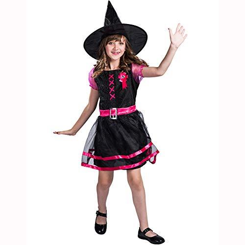 Deluxe Rosa Hexe Kostüm - LJLis Zunderhexen-Kostüm Für Kinder,Märchendrude Mädchen Kostüm