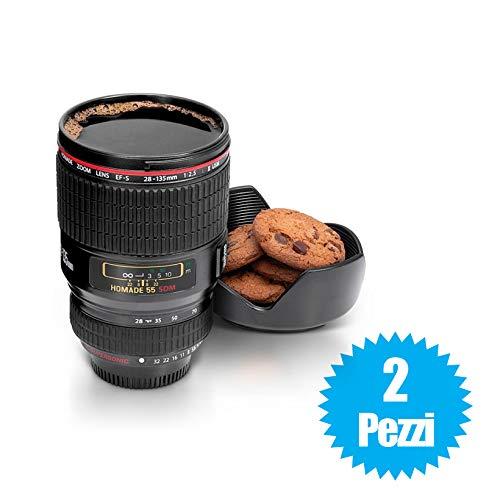 081 Store - 2x TAZZA PER BEVANDE FORMA DI OBIETTIVO MACCHINA FOTOGRAFICA 24-105MM CON COPERCHIO PORTA BISCOTTI CUPLENS LATTE CAPPUCCINO CAFFE'