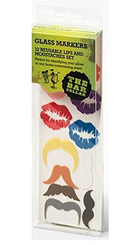her Glas Marker Lippen/Schnurrbart–Splash, Multi/Bunt, 12Stück (Schnurrbart Und Gläser)