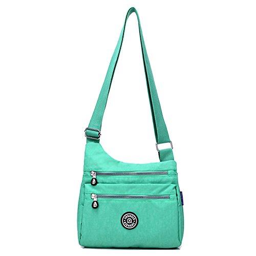 Outreo Kuriertasche Damen Taschen Umhängetasche Mode Schultertasche Leichter Wasserdicht Designer Messenger Bag Kleine Sporttasche für Mädchen Grün