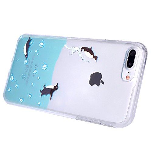 SainCat Coque Housse pour Apple iPhone 7 Plus,Transparent Brillante Coque Silicone Etui Housse,iPhone 7 Plus Silicone Case Soft Gel Cover Anti-Scratch Transparent Case TPU Cover,Fonction Support Prote Natation Penguin