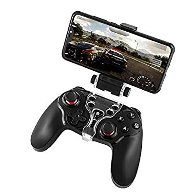 Diswoe Android PS3 Bluetooth Wireless Controller,Gamepad Controller Joystick with Adjustable Bracket Holder for Android Smartphone PS3 Windows PC (Black)