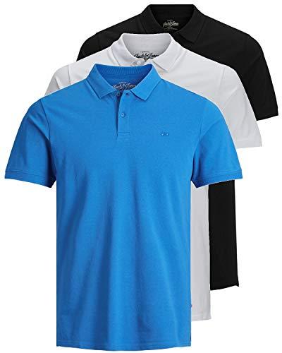 38d2be8b6b JACK & JONES 3er Pack Herren Poloshirt Slim Fit Kurzarm schwarz weiß blau  grau XS S M L