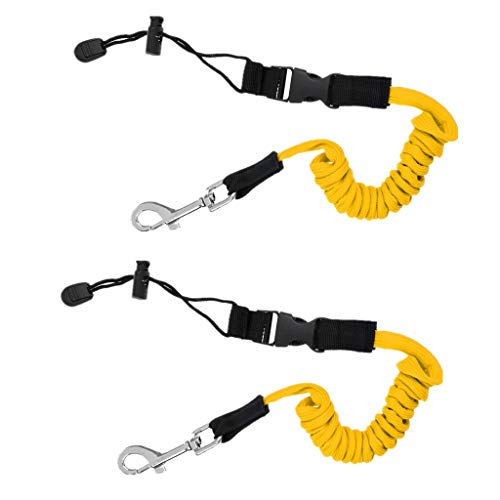 41qwpQlcolL. SS500  - YiMusic 2 Pieces Safety Elastic Kayak Paddle Leash suit for Kayak Boat Fishing Rod Pole Coiled Lanyard Cord Tie Rope…