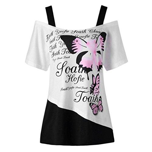 VEMOW Neue Mode Frauen Damen Mädchen Sommer Schmetterling Druck Schulterfrei Shirt Kurzarm Casual Top Bluse (EU-44/CN-L, Rosa) (Manschette Mode Stil,)