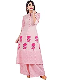 Missprint Women's Printed Mandarin Neckline Half Sleeve Anarkali Fabric Cotton Peach/Pink Color Hand Block Print...
