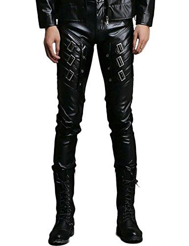 Herren Racing Kostüm - Idopy Herren Rock Punk Patchwork Lederhosen