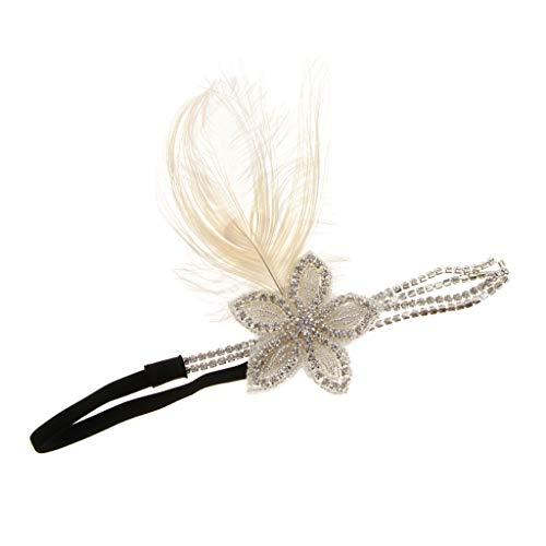 P Prettyia Gatsby Stil Feder Stirnband Haarreif Haarband -