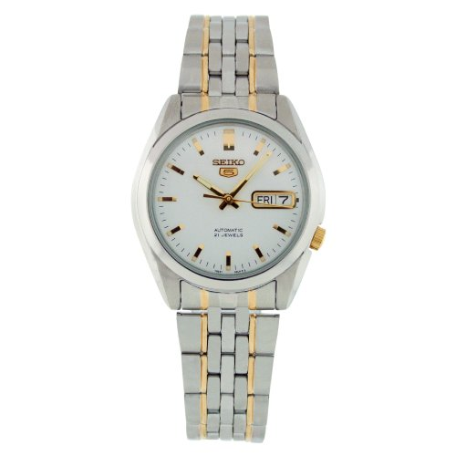 Seiko Mens SNK363K Two Tone Stainless Steel Analog with White Dial Watch