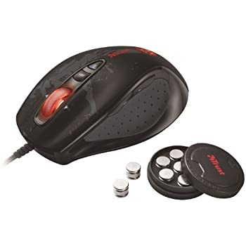 Trust GXT 33 - Ratón Gaming láser (3600 DPI, luces LED, 7 botones, peso personalizable), color negro