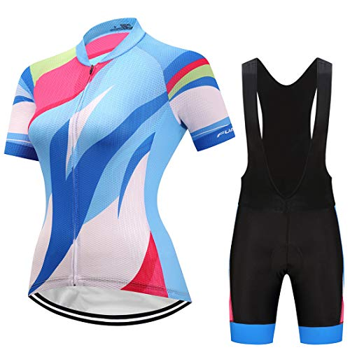 GWELL Damen Radtrikot Atmungsaktive Fahrradbekleidung Set Trikot Kurzarm + Trägerhose mit Sitzpolster für Radsport Blau-Schwarz EU M