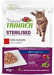 Natural Trainer Sterilised - Cibo Umido per Gatti Adulti Sterilizzati con Manzo e Fibra di Pisello - 12 Buste