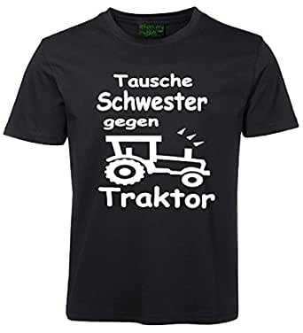 kinder spr che t shirt tausche schwester gegen traktor schwarz. Black Bedroom Furniture Sets. Home Design Ideas