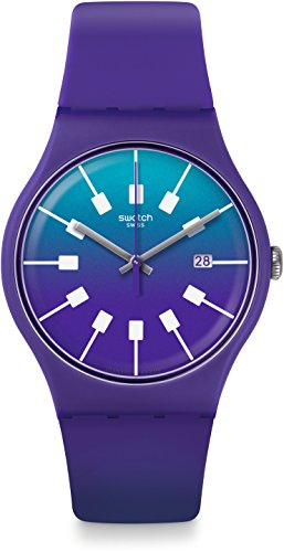 Swatch Damen Digital Quarz Uhr mit Silikon Armband SUOV400 - Lila Swatch Uhren Damen