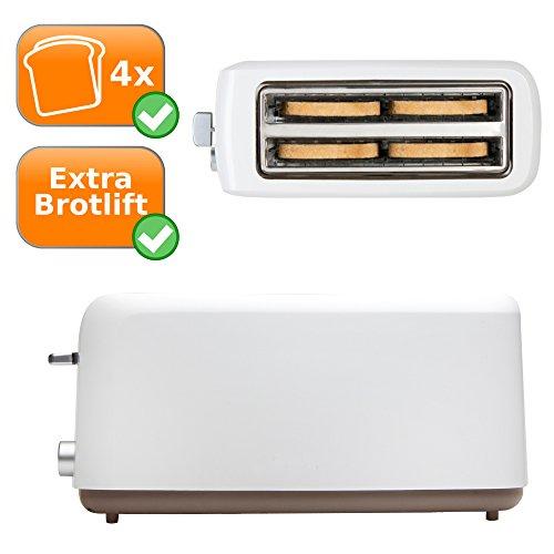 XXL Familien Toaster, Brotröster für 4 Scheiben Toast, verfügt über 6 Temperatureinstellungen - mit Brotlift und Krümelschublade (3 Funktionsschalter: Röster, Auftauen, Abbrechen) Farbe: weiß