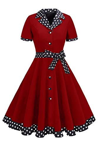 MisShow Damen Chic Retro Kleidung 1950er Audrey Hepburn Gepunkt Pinup Kleid Weinrot S (Jahre Pin 1950er Up)