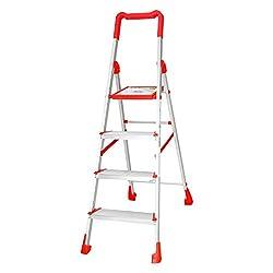 Cipla Plast Folding Aluminium Ladder - Diamond 4 steps + Free 14 Pcs Multipurpose Buffers - GEC-L4D