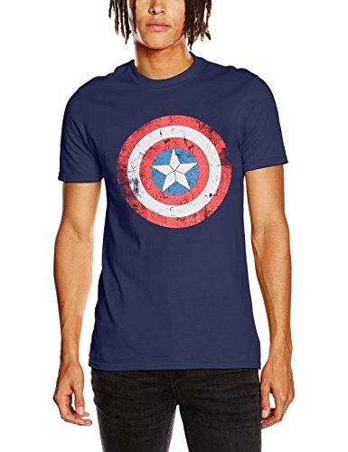 CID Civil War-Cap Shield Distressed, Camisetas para Hombre, Azul, X-Large