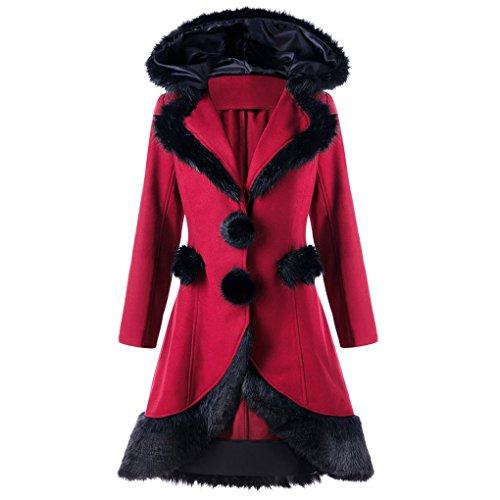 Lady Wintermantel Jacke&JYJMWarme JackeFrau Winter WolljackeFrauen Warme Dünne Mantel Jacke Dicke Parka Mantel Lange Winter Outwear (L, Weinrot)