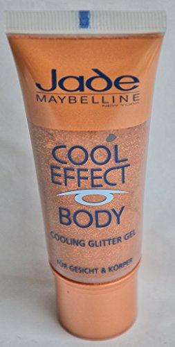 Maybelline Jade Cool Effect Body Cooling Glitter Gel Nr. Sun Brown Inhalt: 30ml Highlighter Gel für Gesicht und Körper hinterlässt einen schillernden Frischekick auf der Haut. Bronzer / Highlighter (Sun Highlighter)