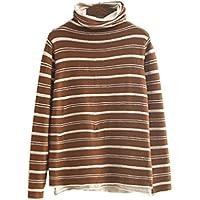 YOUJIA Femmes Pulls Tricotée Col Rouleau Chandail Patchwork Sweater à Rayées Pullover d'Hiver