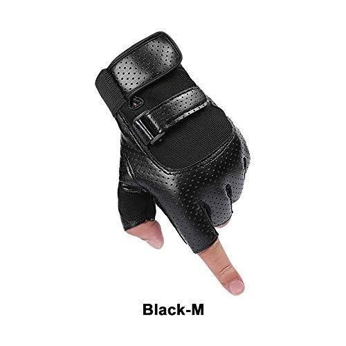 F-dujin Paar schwarz und weiß Handschuhe Gym Gewichtheben Halbfinger Hantelsport Handschuhe Rutschfest verschleißfest Anti-Zerschlagen Fitness Handschuhe, Black3, 1