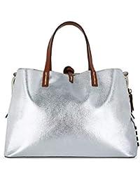 bc27c928f0 Manila Grace Borsa Shopping Fiona Small in Ecopelle Metallizzata Argento