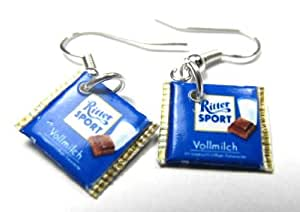 Miniblings Schokoladenohrringe Ohrringe Quadrat Schokolade 6 Sorten