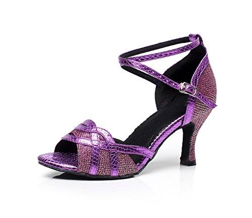 Minitoo qj7027da donna Glitter Flare tallone elegante scarpe da danza latina Viola (viola)