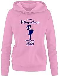 Echte Prinzessinnen wurden im März geboren ! Damen - Mädchen Geburtstag HOODIE Sweatshirt mit Kapuze Gr. S M L XL Prinzessin Birthday Party Feiern