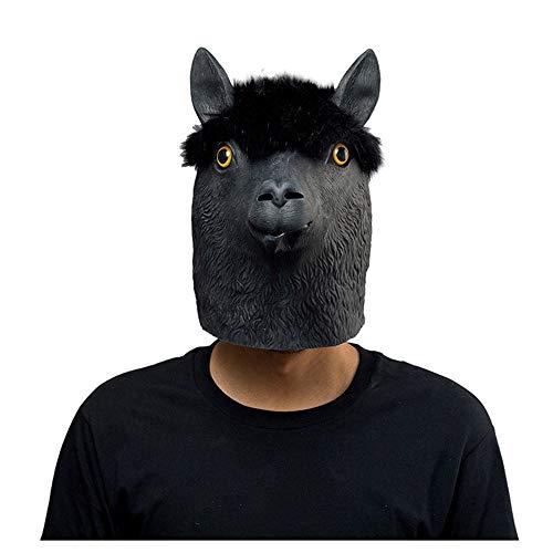 CRAZYDAY Halloween Maske, Schwarze Alpaka, Latex Maske, Adult -