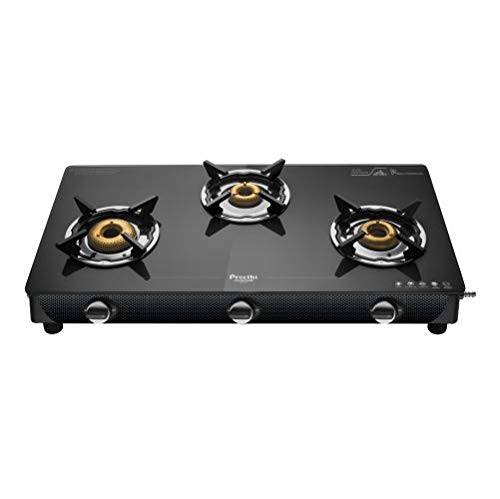 Preethi Valentino Carbon 3 Burner Glass Gas Stove (Black)