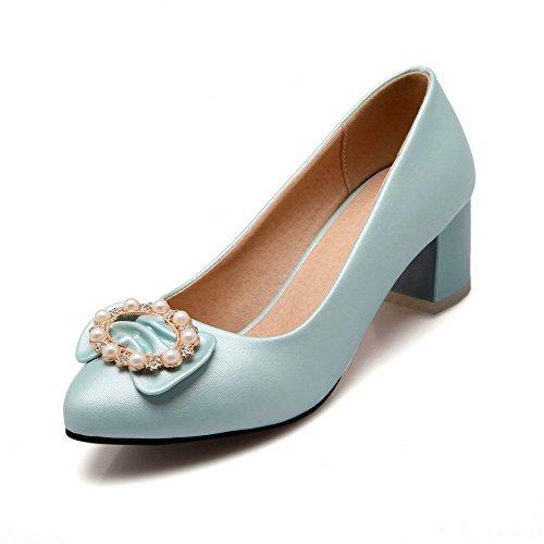 AllhqFashion Damen Pu Mittler Absatz Spitz Zehe Rein Ziehen Auf Pumps Schuhe Blau