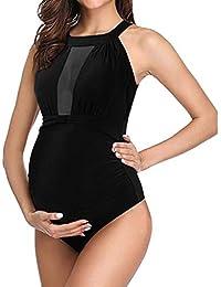 VECDY Bikini Premama Verano, 2019 Elegante Bañadores De Mujer Tallas Grandes Braga Alta Mujer Maternidad Embarazada Tankinis Bikinis Sólido Traje De Baño Una Pieza Ropa De Playa