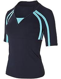 Naffta Tenis Padel - Camiseta de manga larga para mujer, color marino / turquesa, talla S