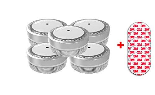 Jeising Mini Rauchmelder RWM100-Silber 5er Set mit Klebepad 3M Premium selbstklebend - 10 Jahres...