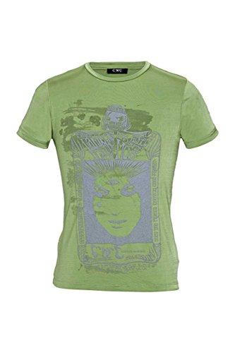 Costume National C'N'C Herren T-Shirt Verwaschen, Vintage Rundhals, MYSTERIE Card, Farbe: Hellgruen, Größe: M (Herren Costumes)