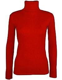 4417736da9a1 Frauen Damen Lange Ärmel Uni Polo Schildkröte Rolle Hals T-Shirt Stretch Top  ...