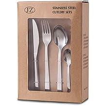 YiRAN Set de cubiertos 16 piezas de acero inoxidable con cuchillo chuletero, Plata acabado pulido