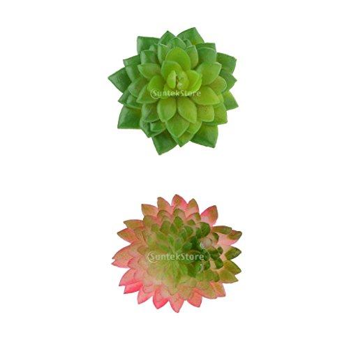 MagiDeal Künstliche Mini Sukkulente Kunstpflanz Pflanzen Blumen Saftiges Alocasia + Echeveria Hochzeit Garten Büro Dekoration