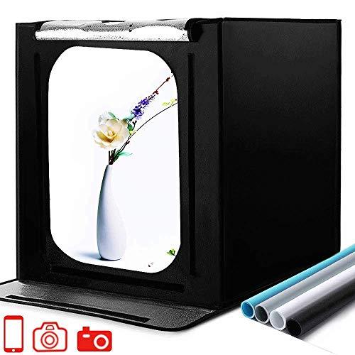 Tragbares Fotostudio 16''x16''x16'' Lichtzelt Schießzelt-Kit mit 4 Hintergrundpapieren und Helligkeitsregler für Fotografie, Produktwerbung (40 * 40 *...