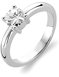 Ti Sento Rhodium Plated Sterling Silver Ring with Zirconia Stone-1463ZI