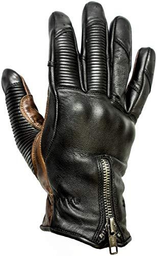 HELSTONS - Guanti da moto da uomo, in pelle, colore: nero/cammello, T10