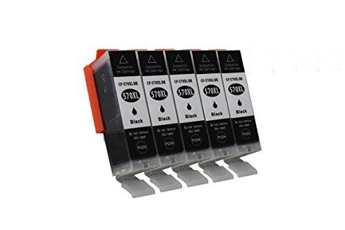 Preisvergleich Produktbild 5 x Kompatible Canon Pixma TS 6050, 6051, 6052 Patronen PGI-570XL Black