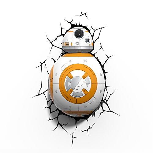 Star Wars BB-8 Wandlampe 3D Light FX LED Kinderlampe -Nachtlicht für kinder mit automatische Abschaltung und wandaufkleber