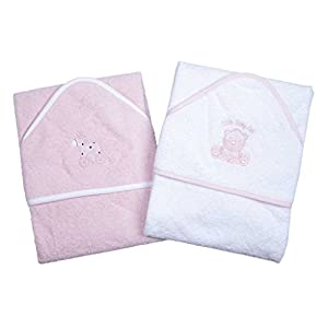 A Set of Two Beautiful Baby Bath Towels - 100% Cotton In Pink or Blue with Cute Animal Appliques (Pink)